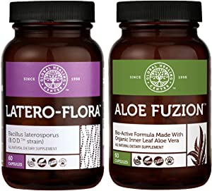 Global Healing Aloe Fuzion & Latero Flora - Bioactive Organic Aloe Vera Leaf Supplement Helps Aid Digestion and Immune Support & Probiotic Supports Candida Cleanse & Strengthens Gut - 60 Capsules Each