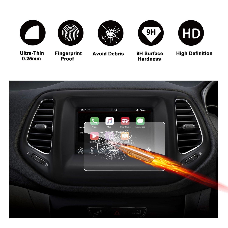 2017年2018年ジープコンパスUconnectタッチ画面車表示ナビゲーション画面プロテクター、Ruiya HDクリア強化ガラス車in-dash画面保護フィルム 5-Inch B077NYXNB9 5-Inch
