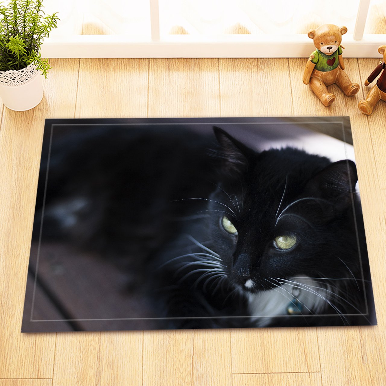 LB Black Cat Print Bathroom Rugs, Anti Skip Rubber Backing Comfortable Soft Surface, Pet Kitten Printed Rug for Bathroom 15 x 23 Inches