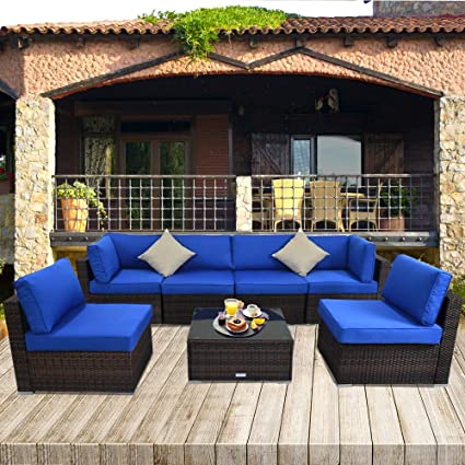 JETIME Outdoor Sofa Set Brown Rattan Couch Wicker 7PCS Sectional  Conversation Lawn Garden Patio Furniture Set with Royal Blue Cushion