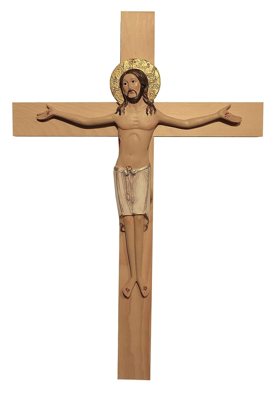 Kaltner Pr/äsente Crocifisso da Parete con Ges/ù Idea Regalo 39 cm Dipinto a Mano su Croce in Legno di cembro