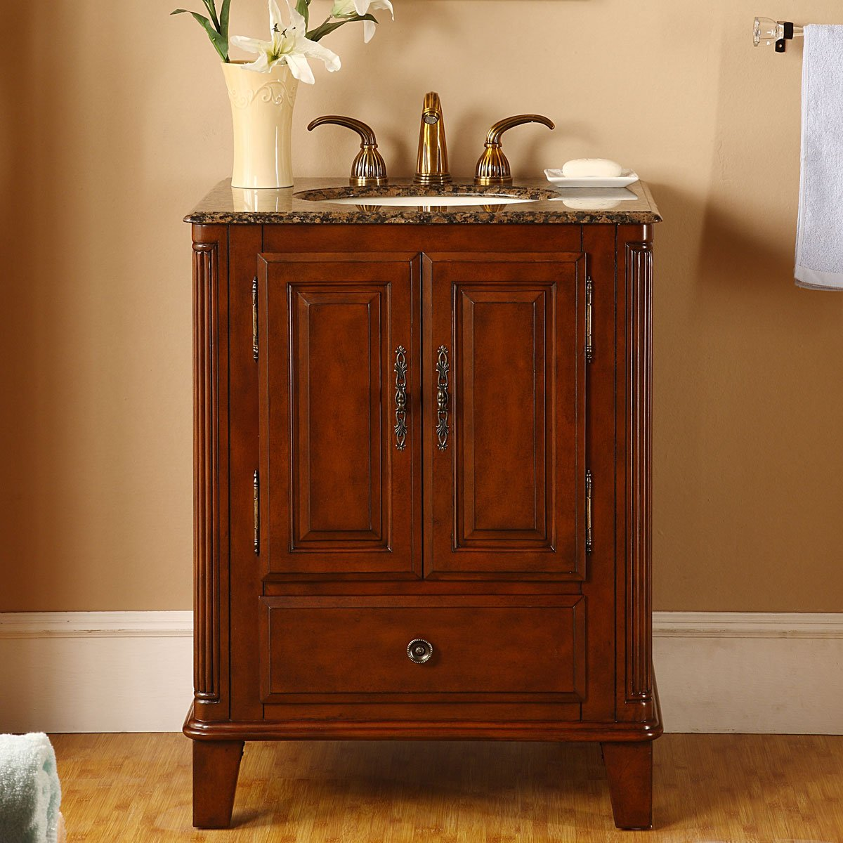 Silkroad Exclusive Single Sink Bathroom Vanity with Special Walnut Finish Cabinet, 28-Inch