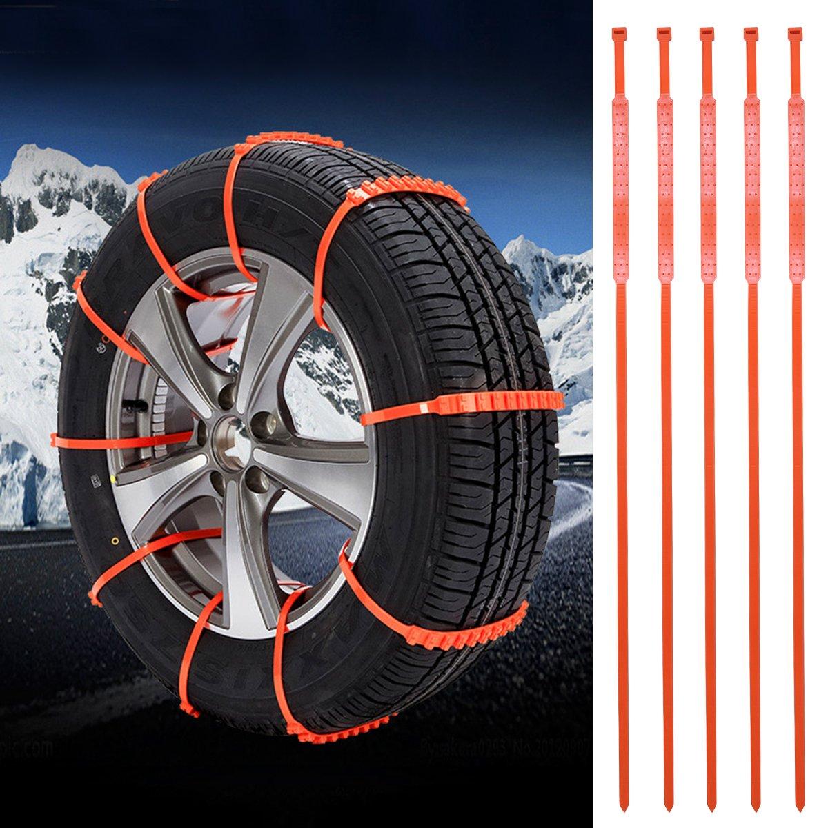 Emergency Tire Chains Set WINOMO 5Pcs Tyre Chains Car Anti-skid Chain for Sedan SUV Light Pickup Truck
