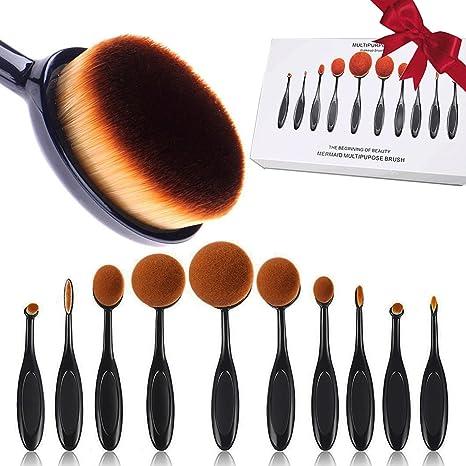 Brochas de Maquillaje, 10 unidades ovalada Make Up Brush Set cepillo de dientes con forma