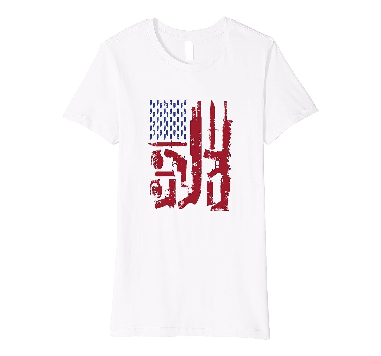 SLIM FIT gun bullets american flag USA second amendment tee