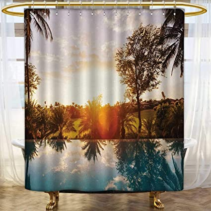 Anhounine Hawaiian Print Shower Curtain Home With Swimming Pool At Sunset Tropics Palms Private Villa Resort
