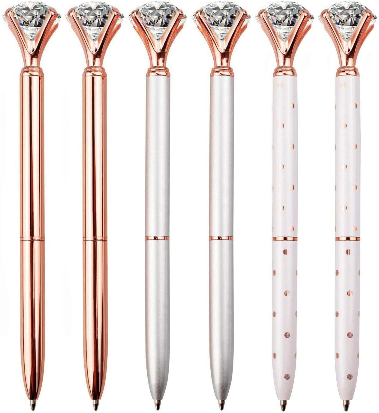 LONGKEY 6PCS Diamond Pens Large Crystal Diamond Ballpoint Pen Bling Metal Ballpoint Pen Office and School, Silver / White Rose Polka Dot / Rose Gold, Including 6Pen Refills.