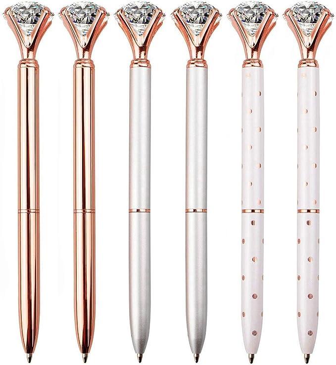 1B42 Crystal Diamon Head Ballpoint Pen Creative Supply Stationery Metal Shell