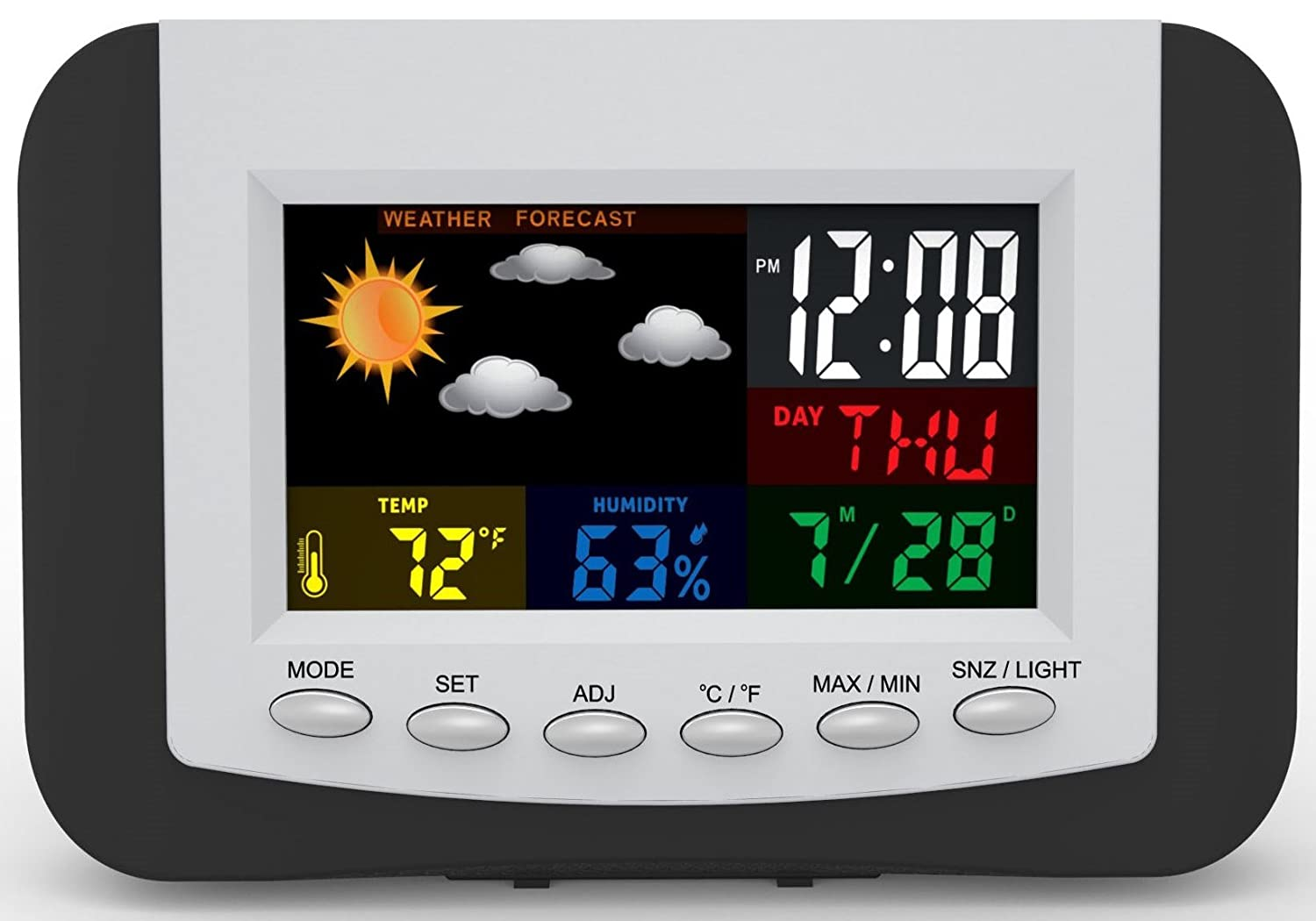 Weather Station Alarm Clock with Large Easy to Read Full Color Display by Tech Tools PI-3332