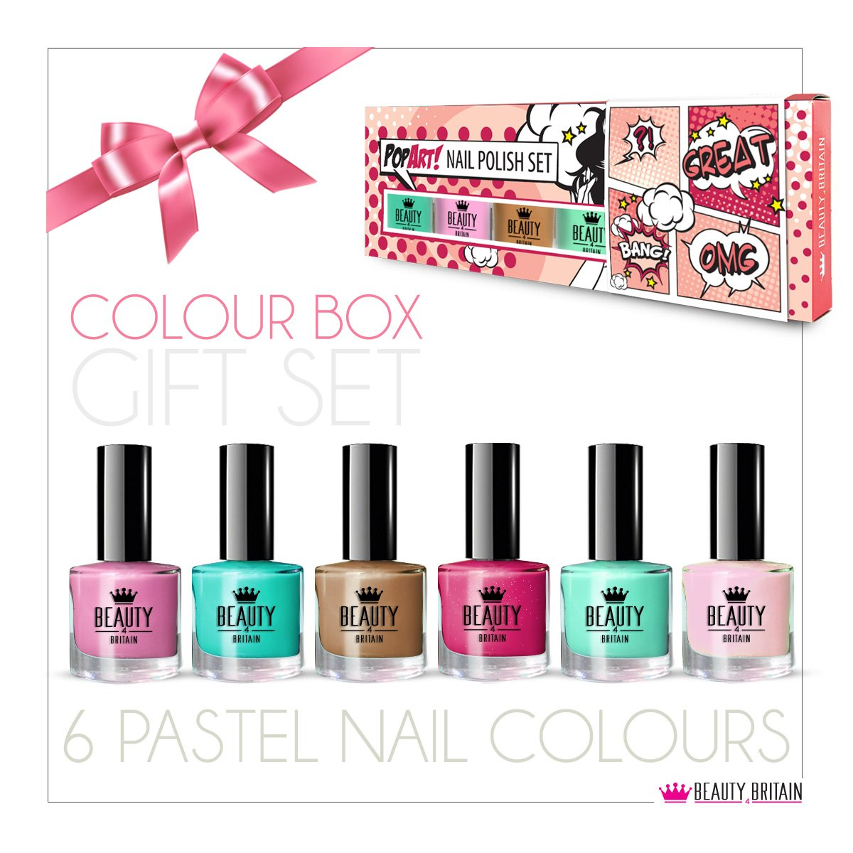 6 x Luxury Nail Polish 6 Different Pastel PopArt Colours Gift Box ...
