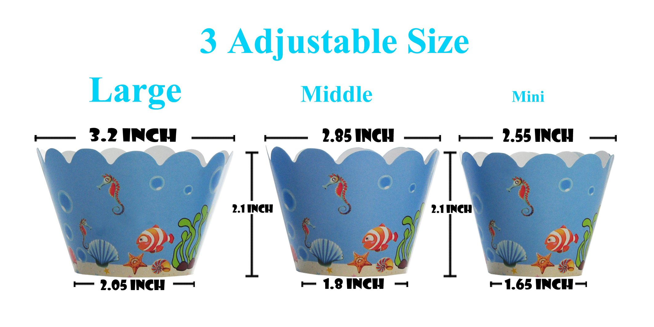 BeBeFun Adjustable Cupcake Wrappers and Toppers Under the Sea and Marin Animals Theme for Kids Birthday Party Supplies and Special Events Supplies 24pcs Wrappers and 24pcs Toppers in Pack. by BeBeFun (Image #4)