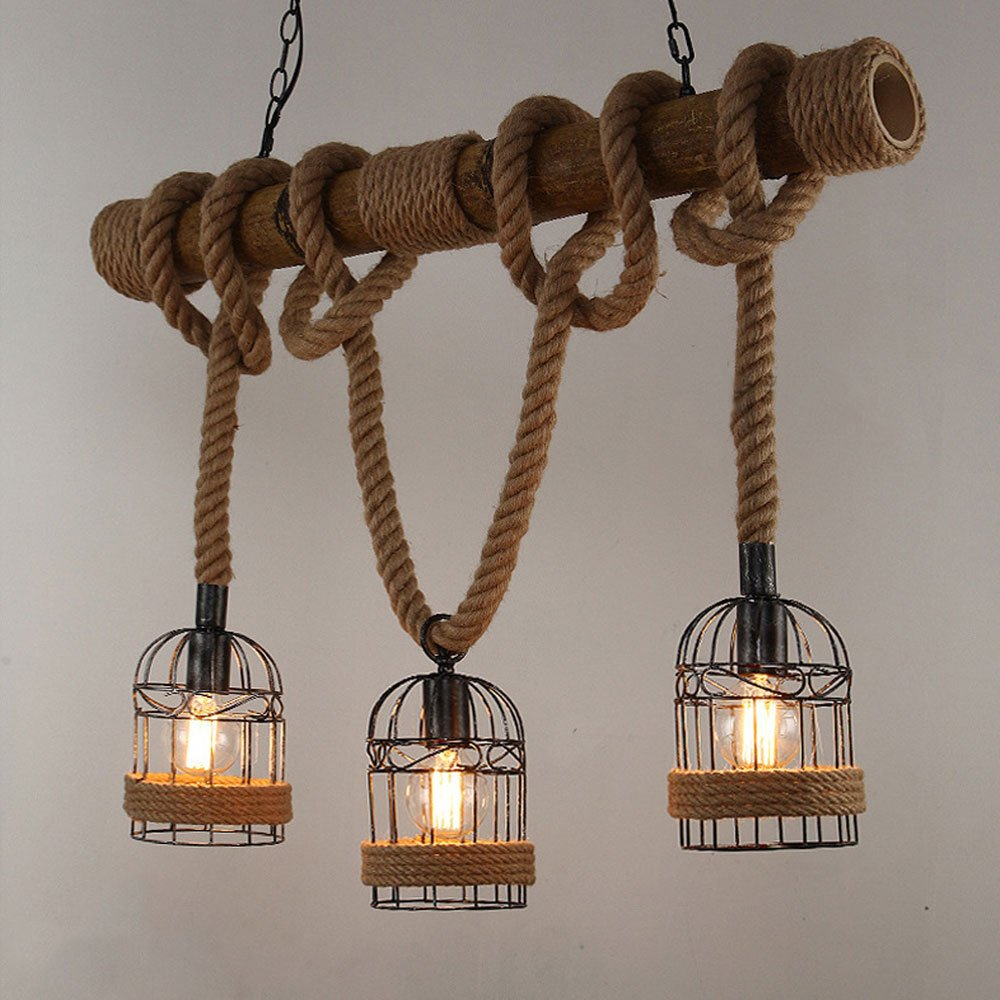 Industrial 3-Light Pendant Light Linear Hanging Chandelier with Wood and Hemp Rope Decoration and Rustic Iron Cage Lamp Shades for Kitchen Island, Bar Dinner