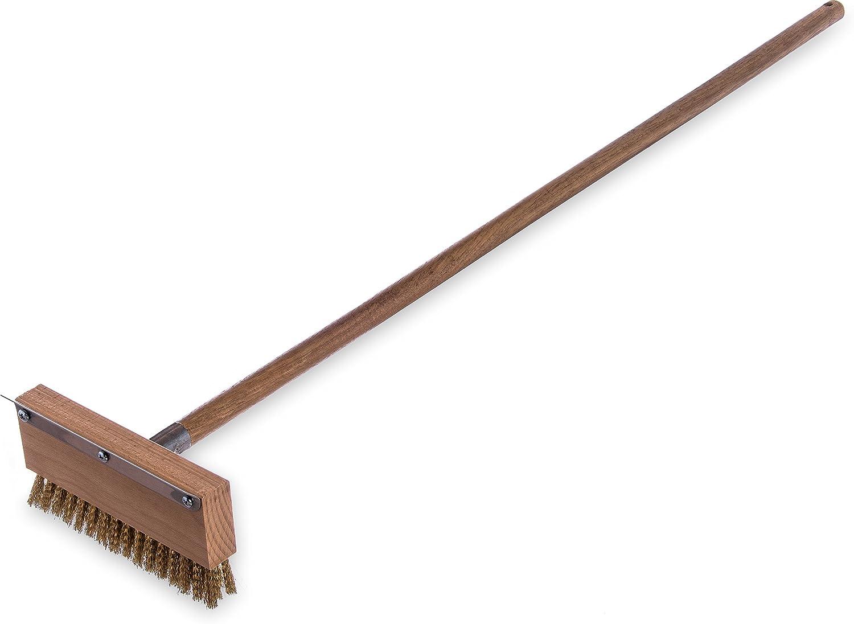 "Carlisle 4152000 Oven Brush & Scraper With Handle, 8-1/2"" Wide, 1-1/4"" Brass Bristles, 42"" Long Hardwood Handle"