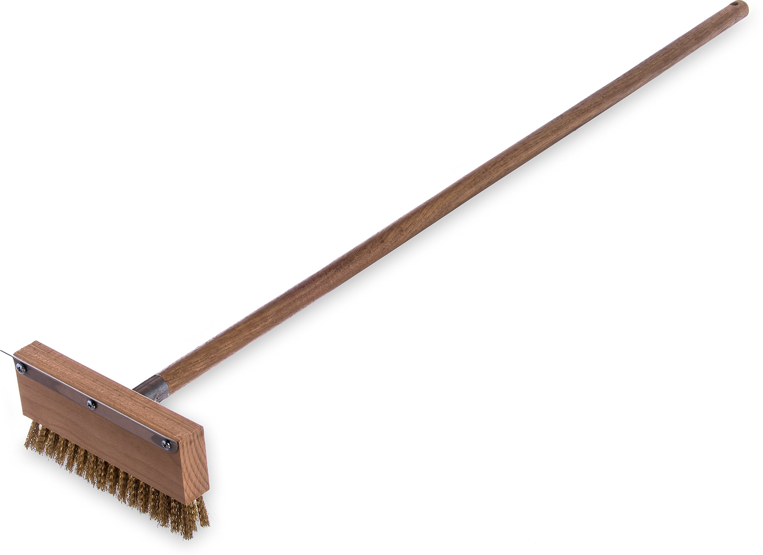 Carlisle 4152000 Oven Brush & Scraper With Handle, 8-1/2'' Wide, 1-1/4'' Brass Bristles, 42'' Long Hardwood Handle