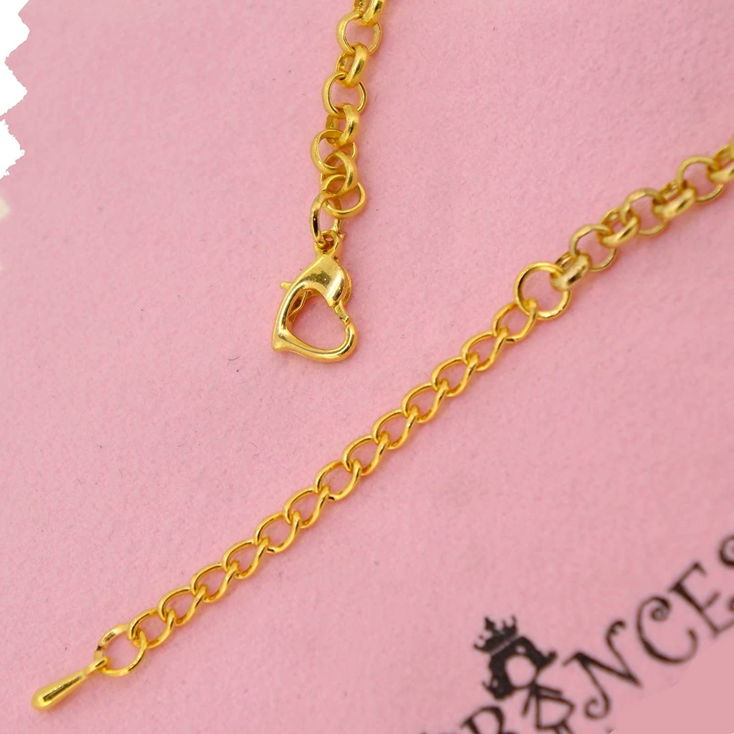 Princess-J Cat Lovers Pink Bow Removable Charms with Golden Bracelet for Teen Girls Women