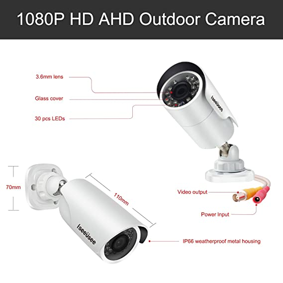 Amazon.com : ISEEUSEE 8CH Security Camera System 1080N Video DVR recorder with 6 x HD 1920TVL 1080P Indoor Outdoor Weatherproof CCTV Cameras, Motion Alert, ...