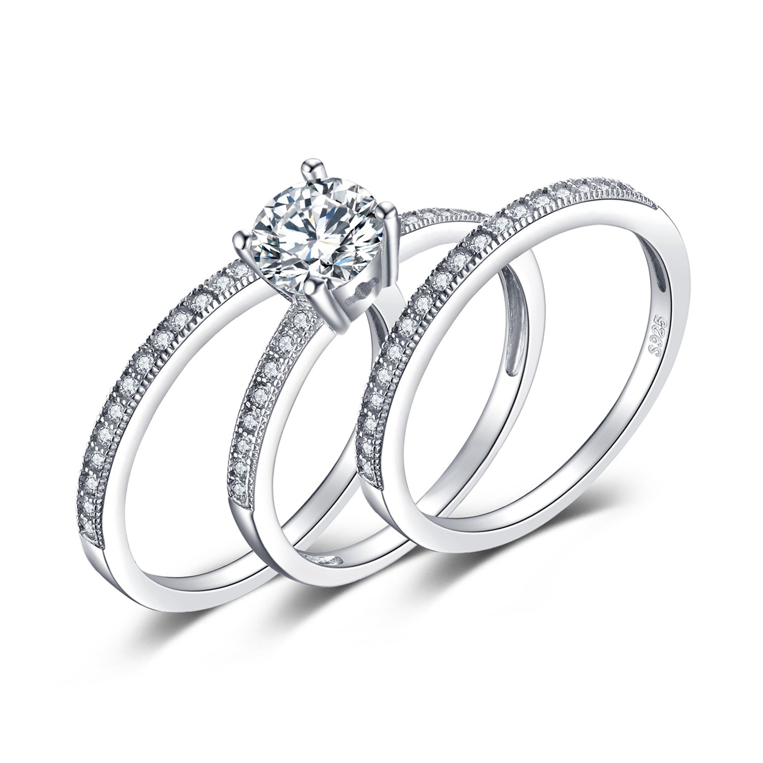 1350c0e0bd JewelryPalace 3pc Wedding Rings Halo Solitaire Engagement Rings For Women  Anniversary Promise Ring Bridal Sets 925 Sterling Silver 1.5ct Cubic  Zirconia