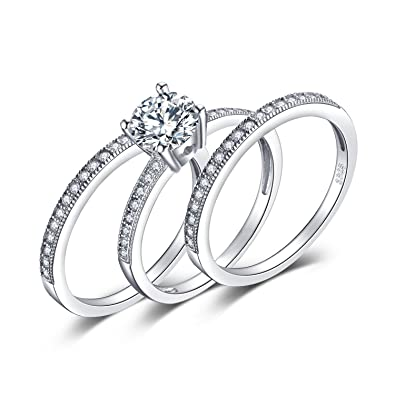 4dba55f020d7db JewelryPalace 3pc Wedding Rings Halo Solitaire Engagement Rings For Women  Anniversary Promise Ring Bridal Sets 925 Sterling Silver 1.5ct Cubic  Zirconia