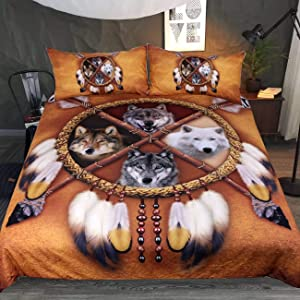 Sleepwish 4 Wolves Dreamcatcher Bedding Golden Brown Duvet Cover Vintage Feather Western Bedding Cover Set (King)