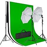 Amzdeal Kit de Fond 3m×2m inclut Support de fond sur pieds + 3*Toile tissu de fond -1.6m×2m Noir/Blanc/Vert pour photographie+2 parapluies