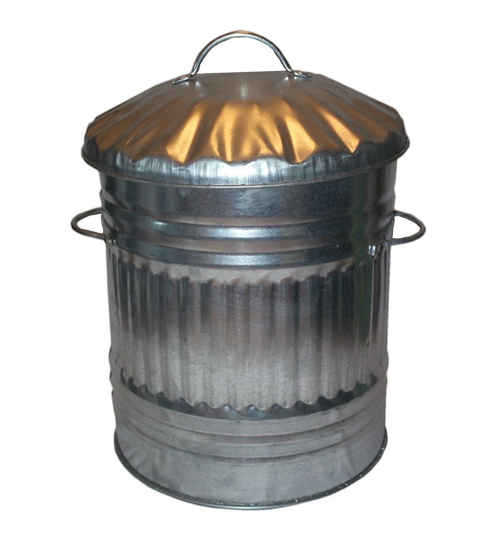 40L Litre Galvanised Metal Bin - Indoor Outdoor Steel Rubbish Dustin / Animal Feed Storage S&MC Gardenware