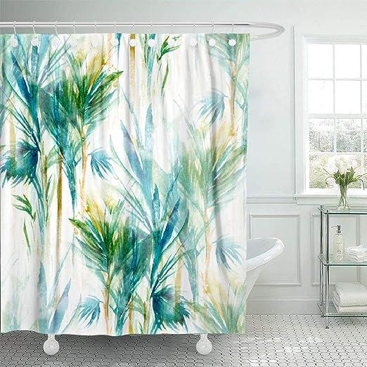 Waterproof Shower Curtain Bamboo Tree Print Bathroom Decor Green Shower Curtain