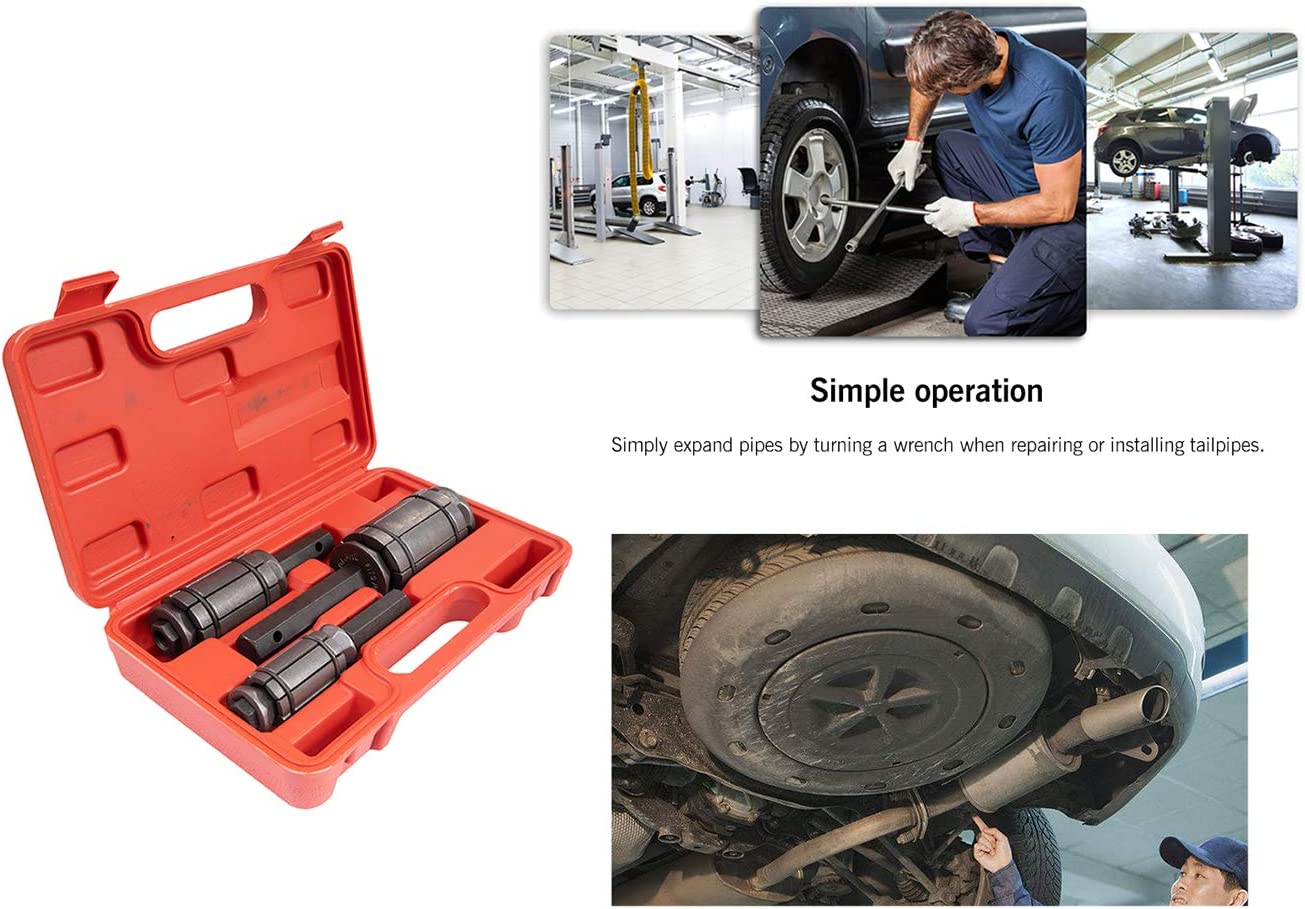 3 PC Exhaust Pipe Expander Tool kit,Exhaust Muffler Spreader Tool Tail Pipe Muffler Exhaust Expander Kit /1-1//8 to 3-1//2/with Blow Mold Storage Case