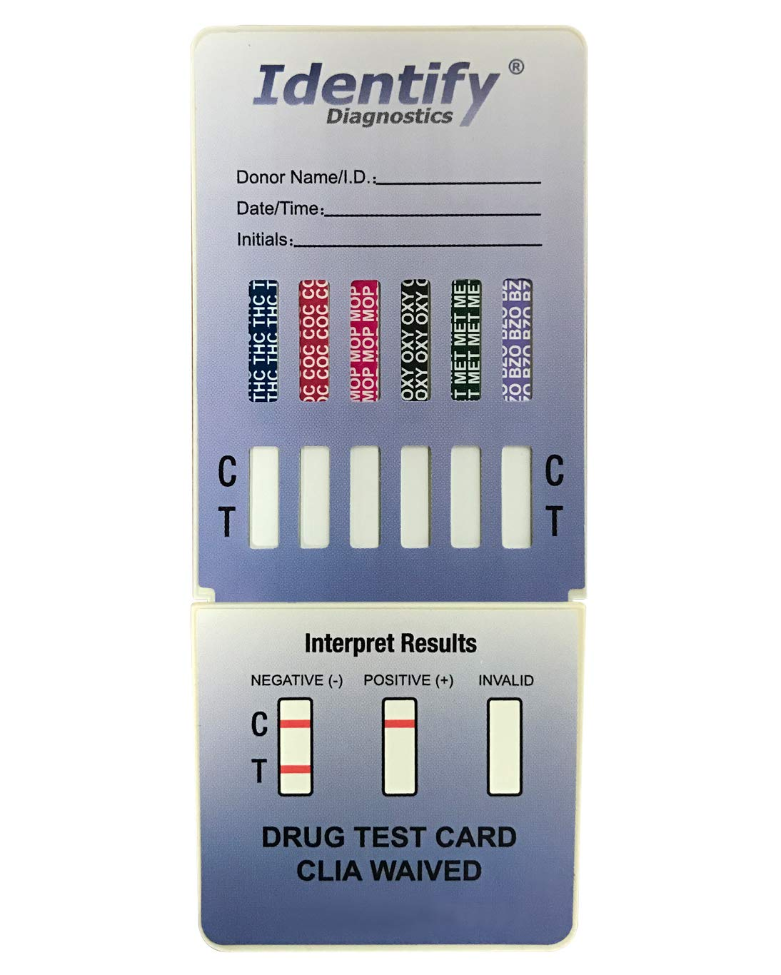50 Pack Identify Diagnostics 6 Panel Drug Test Dip with Low Opiates Cutoff - Testing Instantly for 6 Different Drugs: THC, COC, MOP, OXY, MET, BZO #ID-CP6-DIP