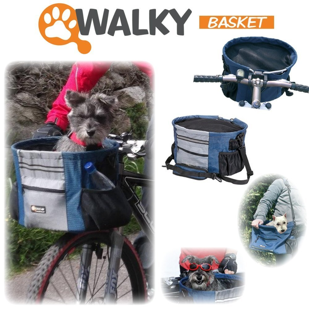 Walky Basket Pet Dog Bicycle Bike Basket & Carrier Easy Click Release Mounting- Up to 15lbs 15.5'' Wide x 10'' Depth by Walky Dog