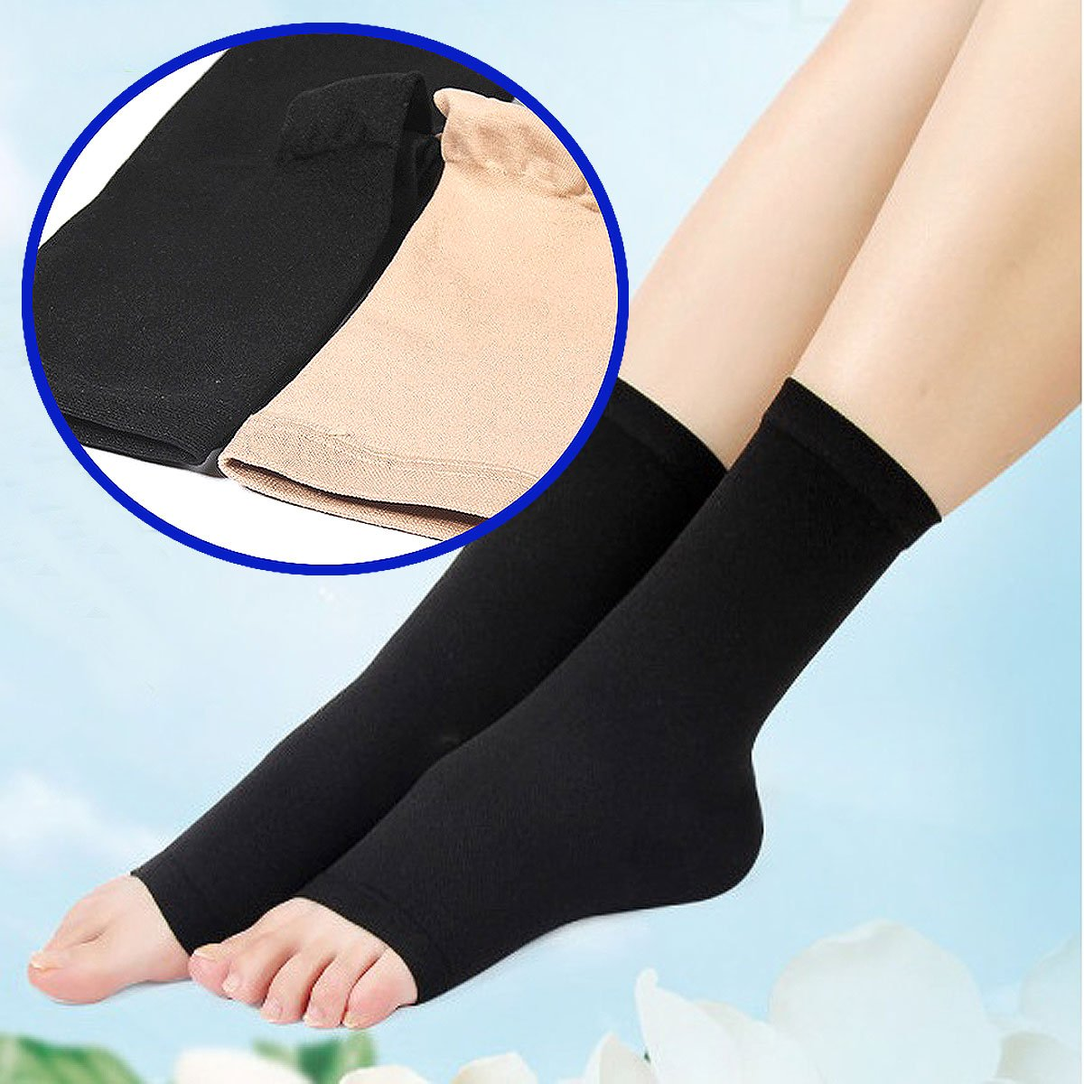 Medical Circulation Compression Socks Elastic Sock Varicose Vein Ankle Support Stockings with Open Toe (BLACK)