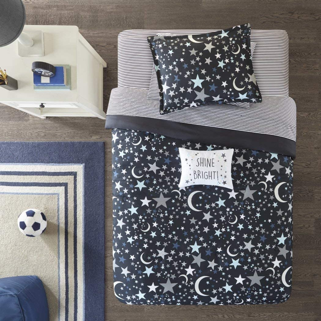 Stars Blue and Gray Twin Sheet Set