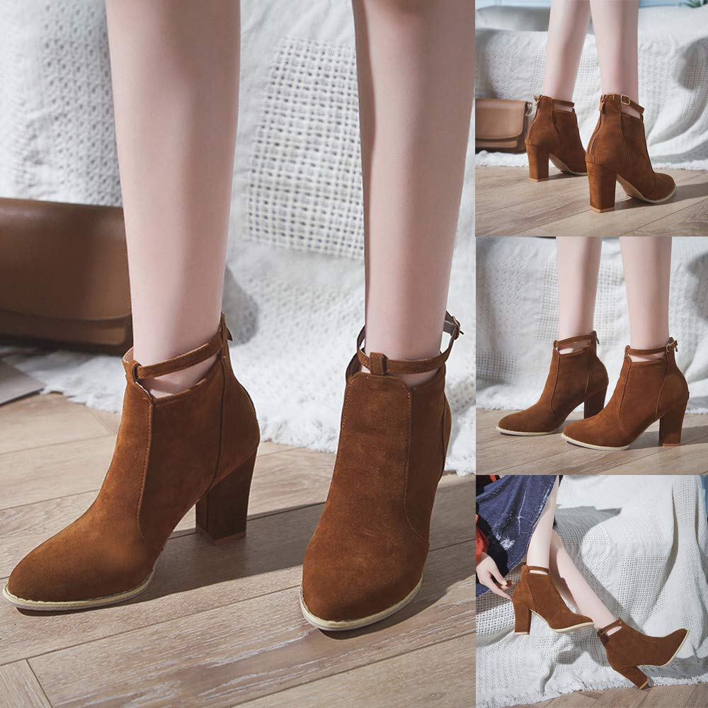 Sunmoot Suede Ankle Boots Women Flock Buckle Strap Zipper Pointed Toe Chunky High Heels Shoes