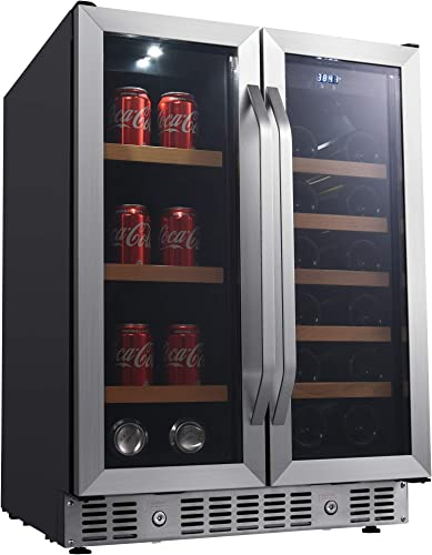 EdgeStar-CWB1760FD-24-Inch-Built-In-Wine-and-Beverage-Cooler-with-French-Doors