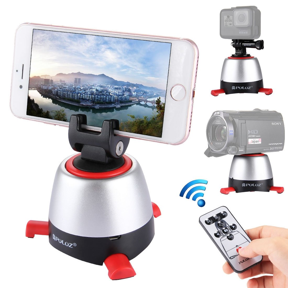Panoramic Self-timer, PULUZ Electronic Intelligent 360 Degree Rotation Tripod Head with IR Remote Controller & Build-in Bluetooth for Most of Smartphones & Cameras Max load: 1KG/2.2lb by PULUZ