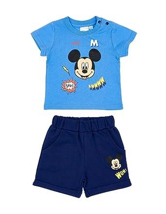 4cc61aeb943 Ensemble Short et T-Shirt bébé garçon Mickey Bleu Marine de 3 à 24mois