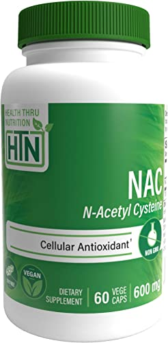 NAC 600mg N-Acetyl Cysteine 60 vegecaps Non GMO and Free from Common excipients Such as Magnesium Stearate and Silica by Health Thru Nutrition