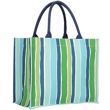 Rock Flower Paper Fashion Market Totes Savannah Blue Stripe