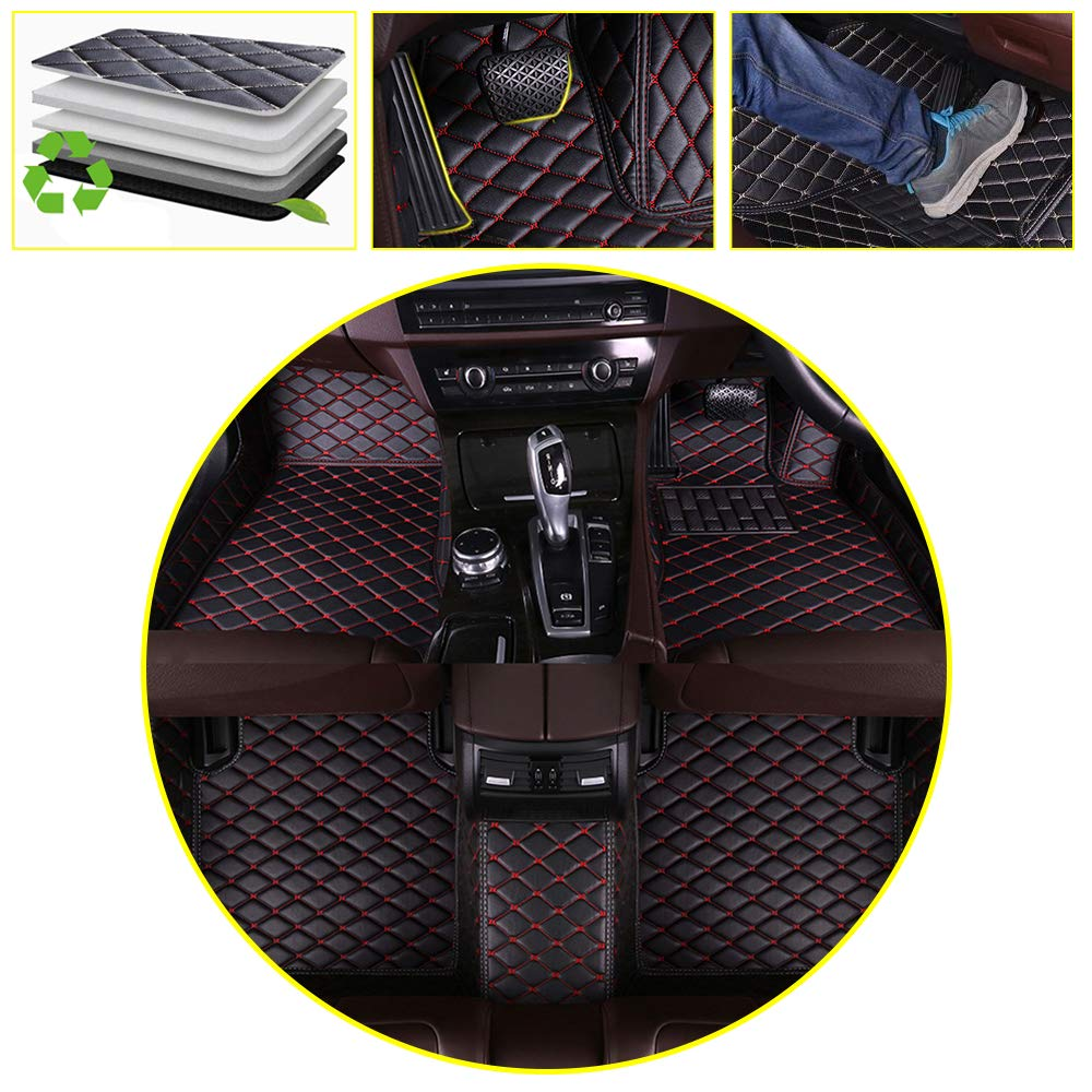 DBL Custom Car Floor Mats for Benz A Class AMG 2014-2017 Waterproof Non-slip Leather Carpets Automotive Interior Accessories Black with Red Line 1 Set