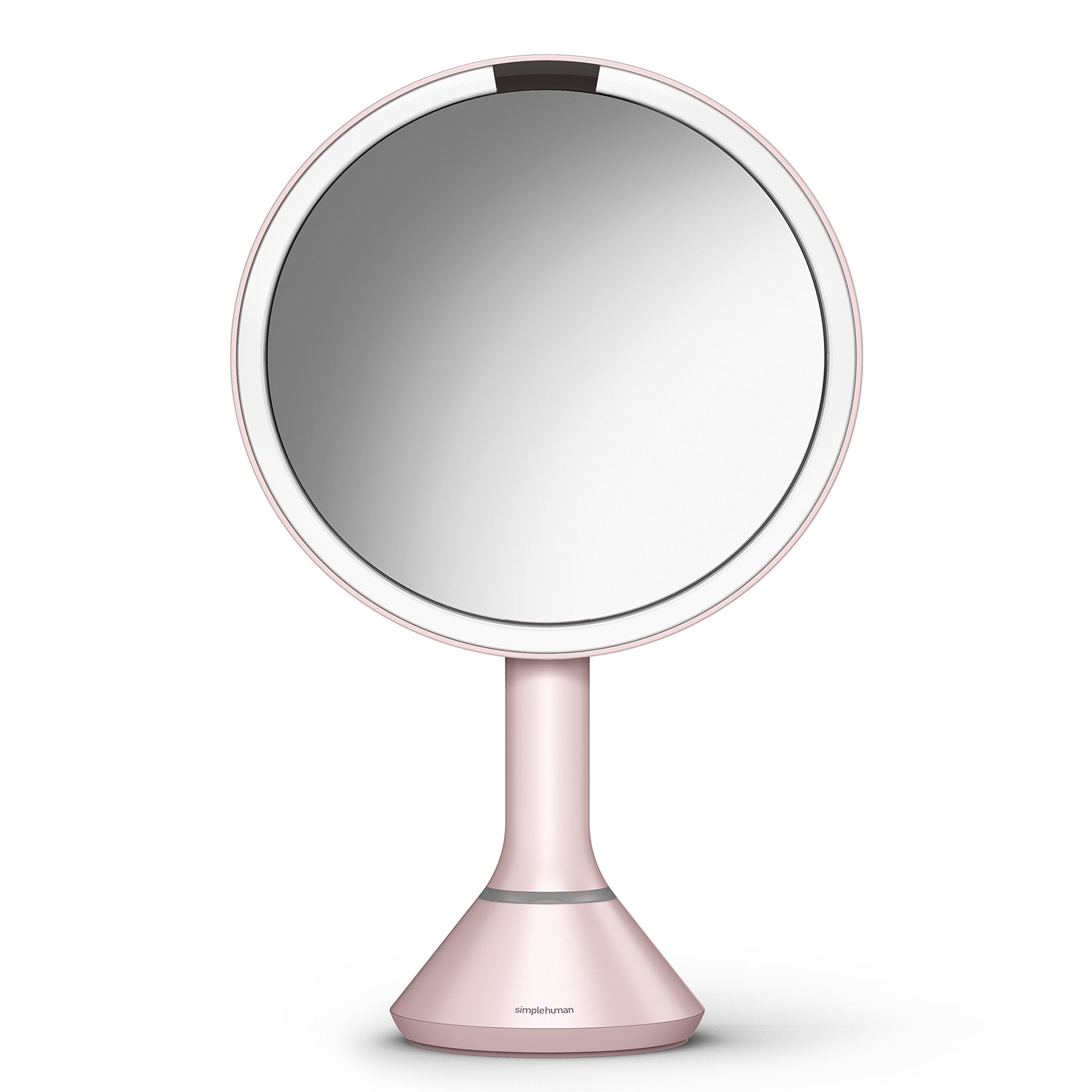 simplehuman Sensor Lighted Makeup Vanity Mirror, 8'' Round With Touch-Control Brightness, 5x Magnification, Pink Stainless Steel, Rechargeable And Cordless