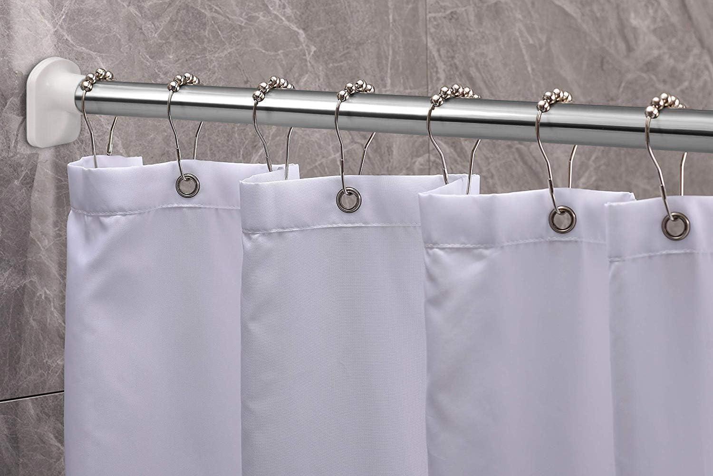 KINLO 210-260cm Barra de cortina de ducha con barra telescópica Barra de ducha Barra de cortina de acero inoxidable de Barra de ropa sin perforación Barra de plata multifunción para sujeción: Amazon.es: