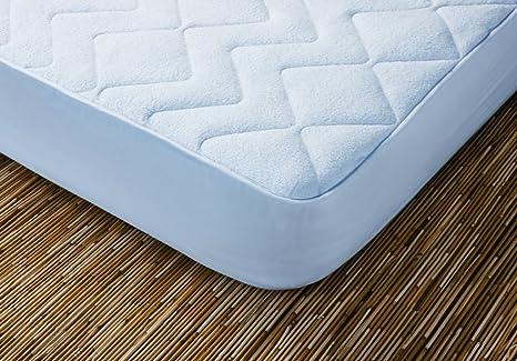Protector de colchón acolchado. 100% algodón. Reversible. (Blanco 105x190 cm)