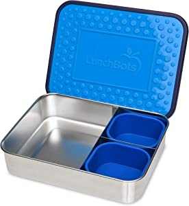 LunchBots Light Trio Three-Section Large Bento Box + Silicone Cups – Large Stainless Steel Lunch Container - Sandwich and Sides - BPA Free Plastic Lid - Dishwasher Safe – Ocean