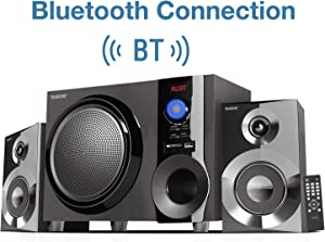 Boytone BT-225FB Wireless Bluetooth Stereo Audio Speaker Bookshelf System, Powerful Bass, Treble, Clear Sound, FM Radio, USB/SD/RCA Input, Output, for Phone's, Laptops, DVD Player, 60W