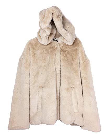 83aec115 Zara Women's Hooded Faux Fur Jacket 6318/233 Off-White: Amazon.co.uk ...