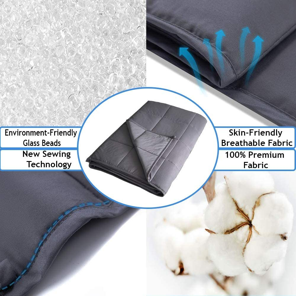 HomeGurus Weighted-Blanket Soft Material for Sleeping Calming and Relaxing Comforter Cool Heavy Bed Blankets for Adults Kids Toddler and Family 36x48 inch 5 lbs, Grey