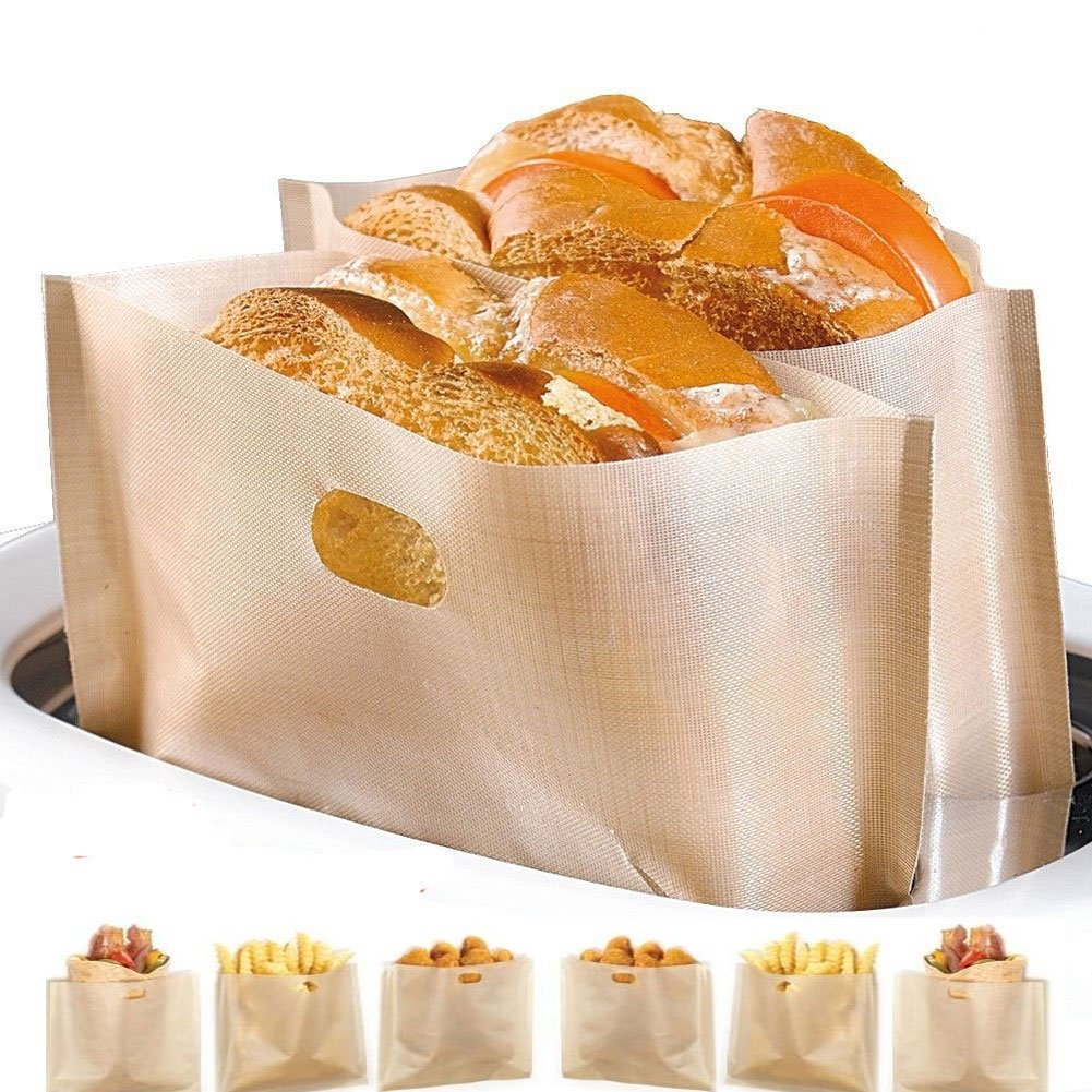 Non Stick Toaster Bags (Set of 4) Reusable and Heat Resistant Easy to Clean,Perfect for Sandwiches Pastries Pizza Slices Chicken Nuggets Fish Vegetables Panini & Garlic Toast YooCool LBB48