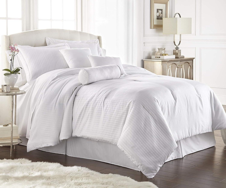 Chezmoi Collection 7-Piece White Chenille Floral Embroidery Stripe Comforter Set