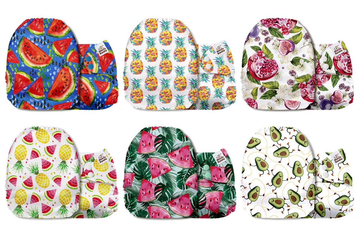 6 Pack Nappies with 6 One Size Microfiber Inserts Bright Days Mama Koala One Size Baby Washable Reusable Pocket Cloth Diapers