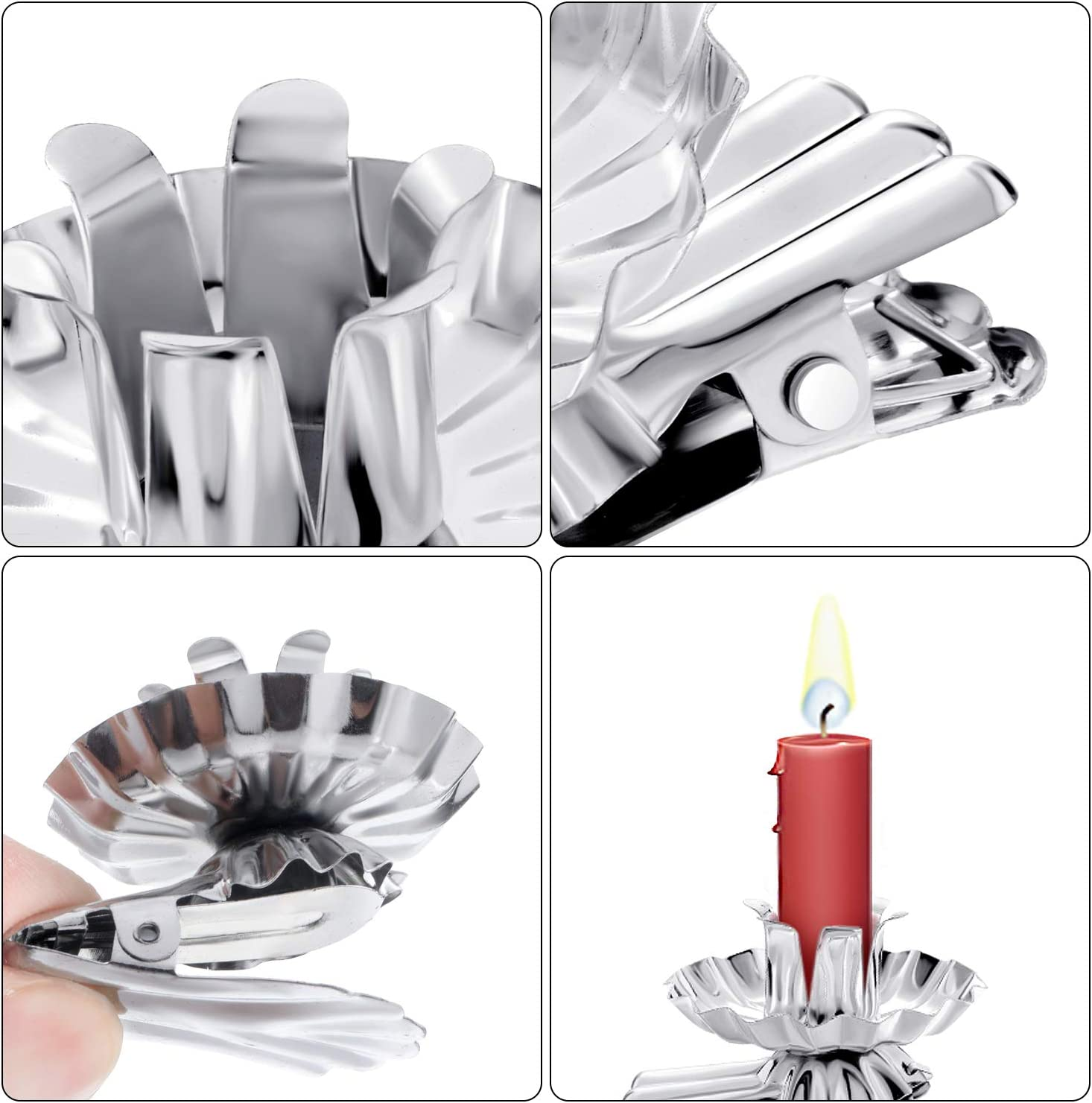 Boao 20 Pieces Candle Holders Clip Candle Holder Silver Flower Shaped Candlestick Holders Metal Candles Clips for Christmas Birthday Party