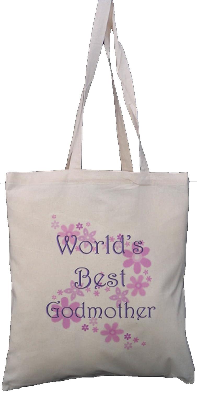 Best Godmother in the World Natural Cotton Shoulder Bag Christening Gift